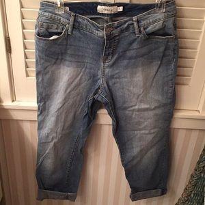 Torrid distressed boyfriend cropped cuffed jeans
